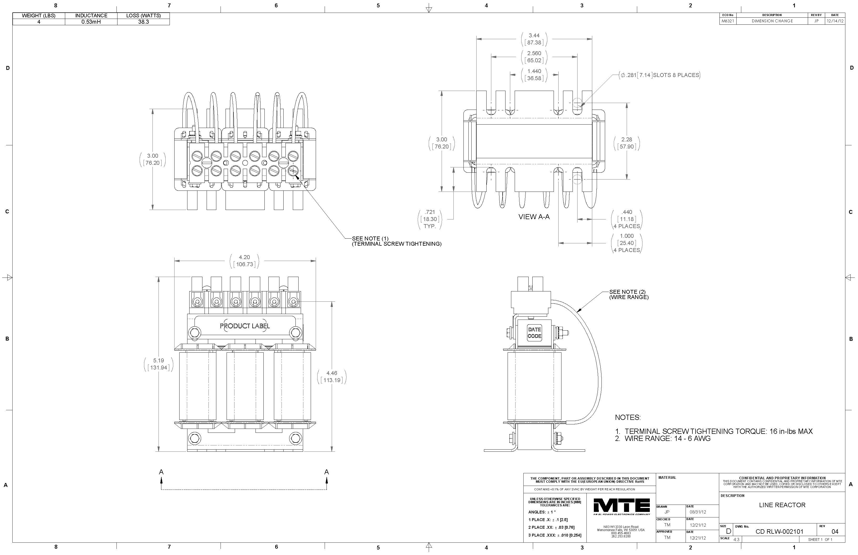 Image of an MTE Reactor RLW-002101