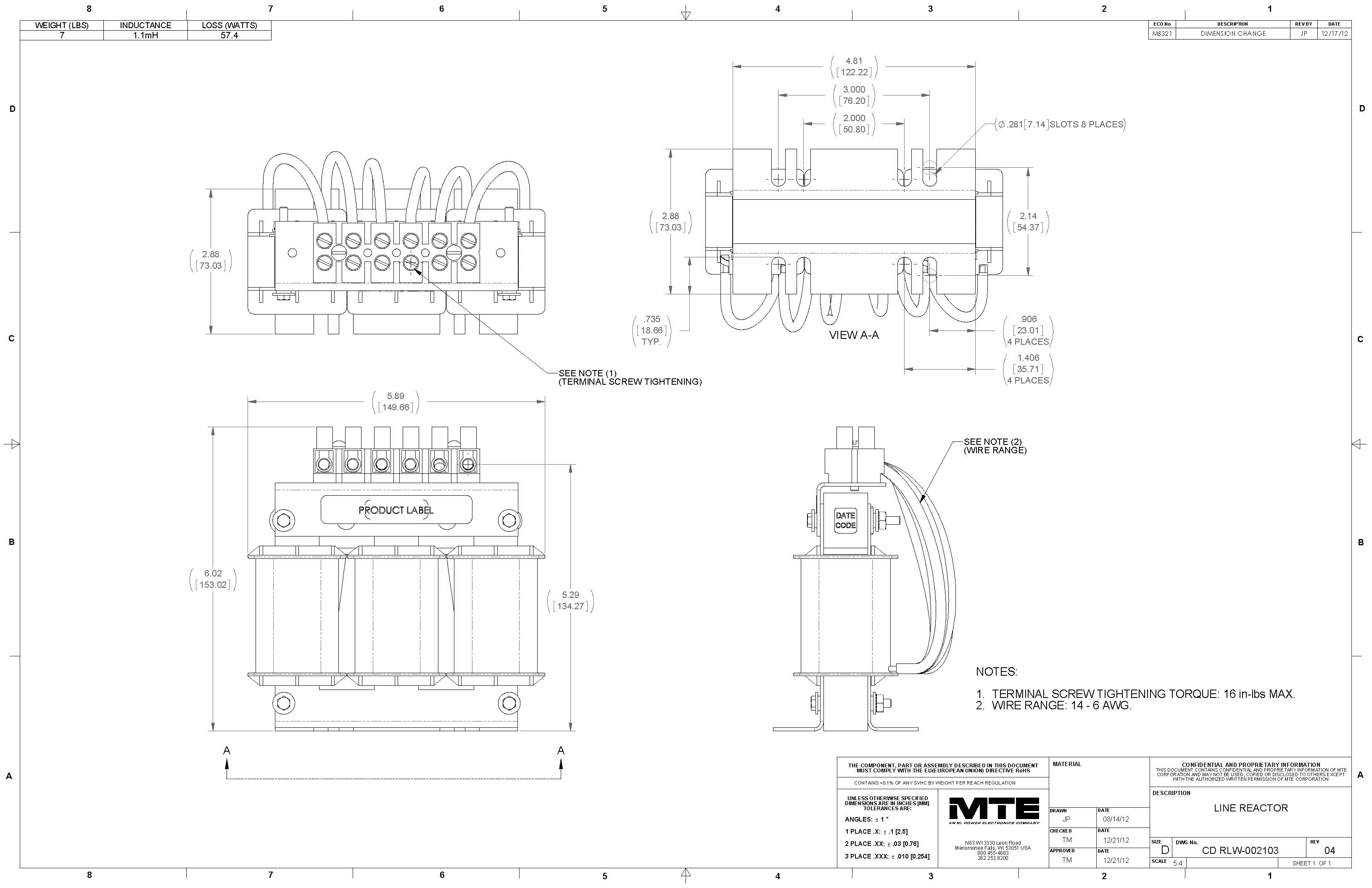 Image of an MTE Reactor RLW-002103