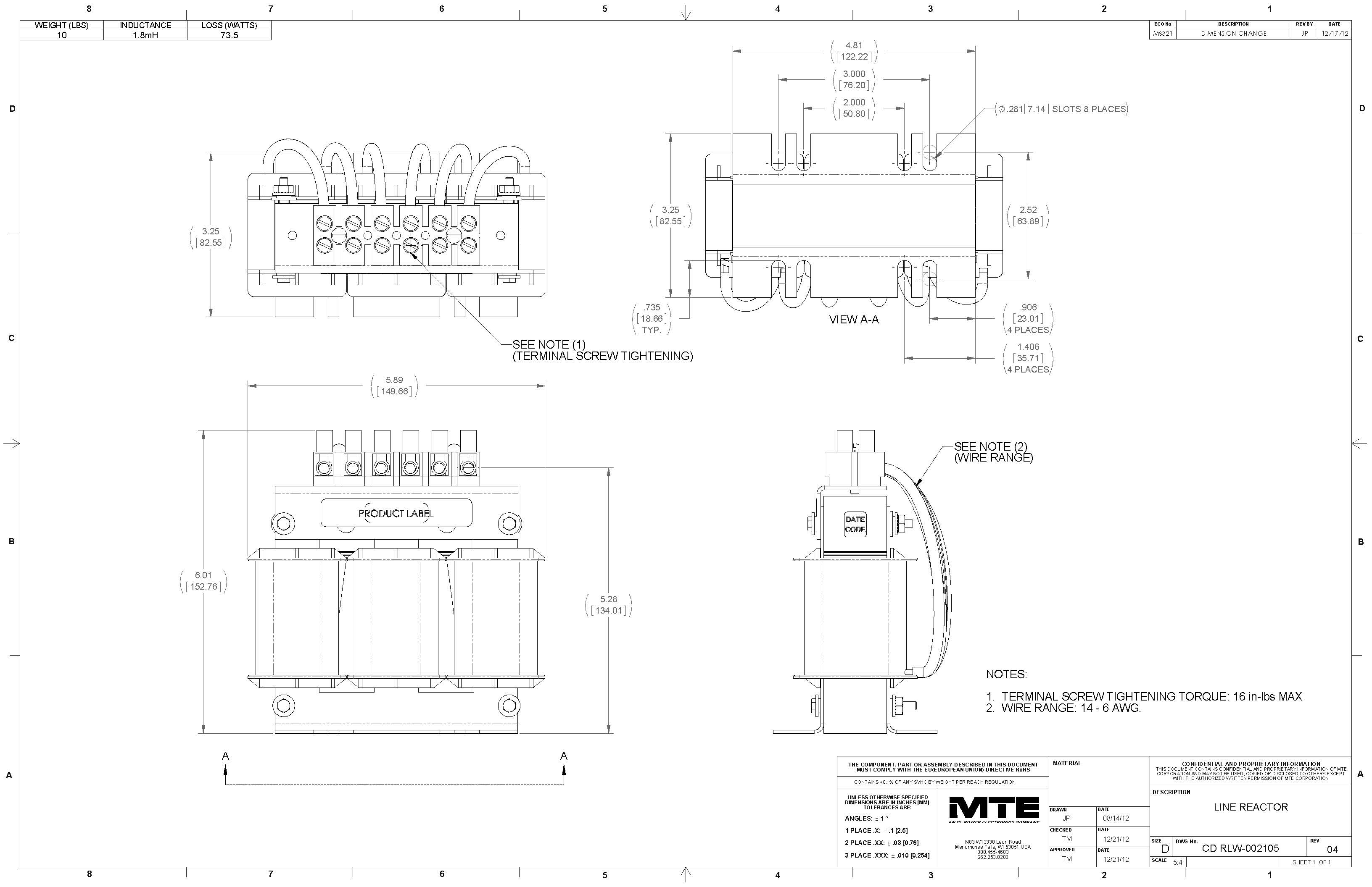 Image of an MTE Reactor RLW-002105