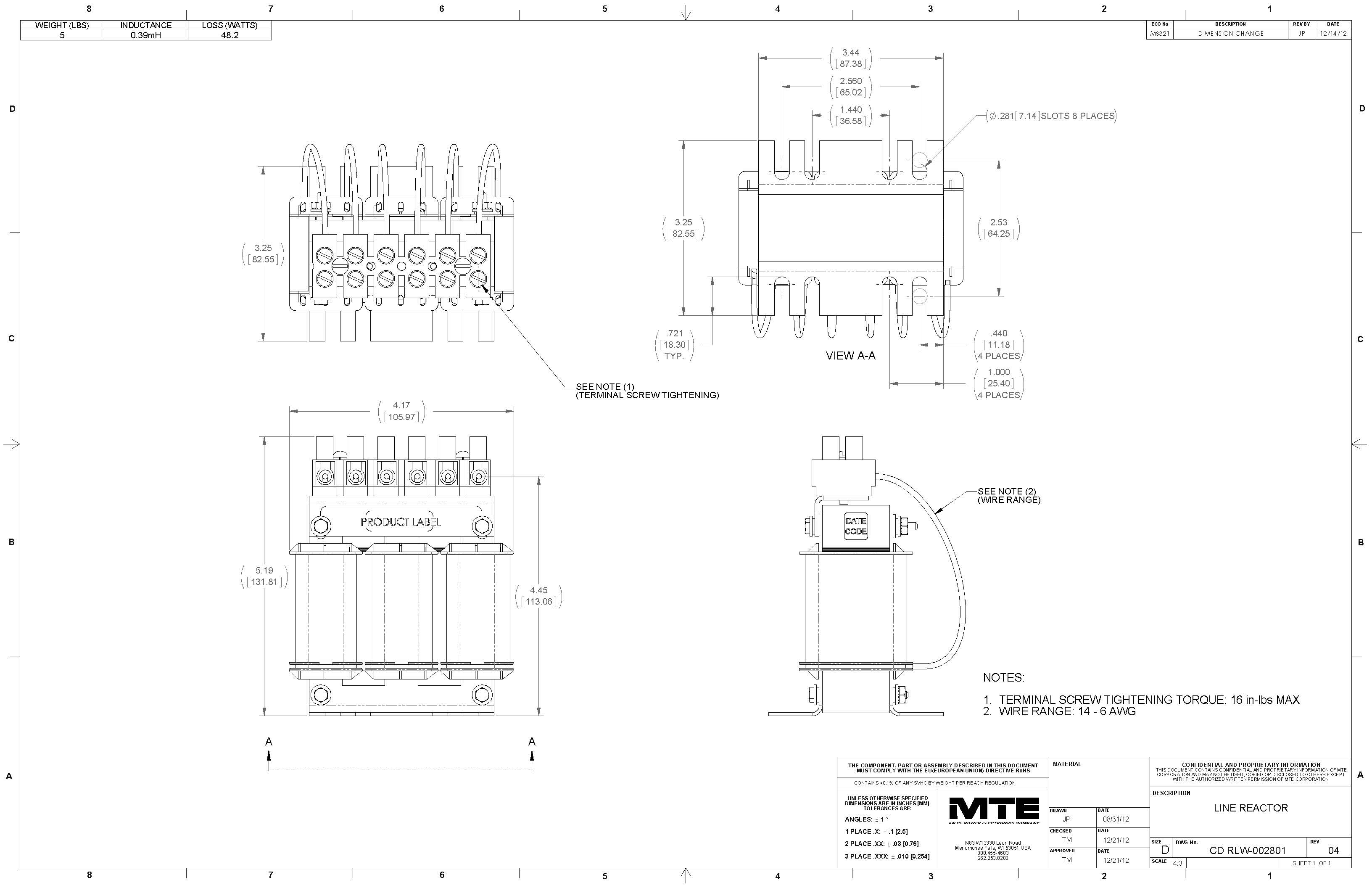Image of an MTE Reactor RLW-002801