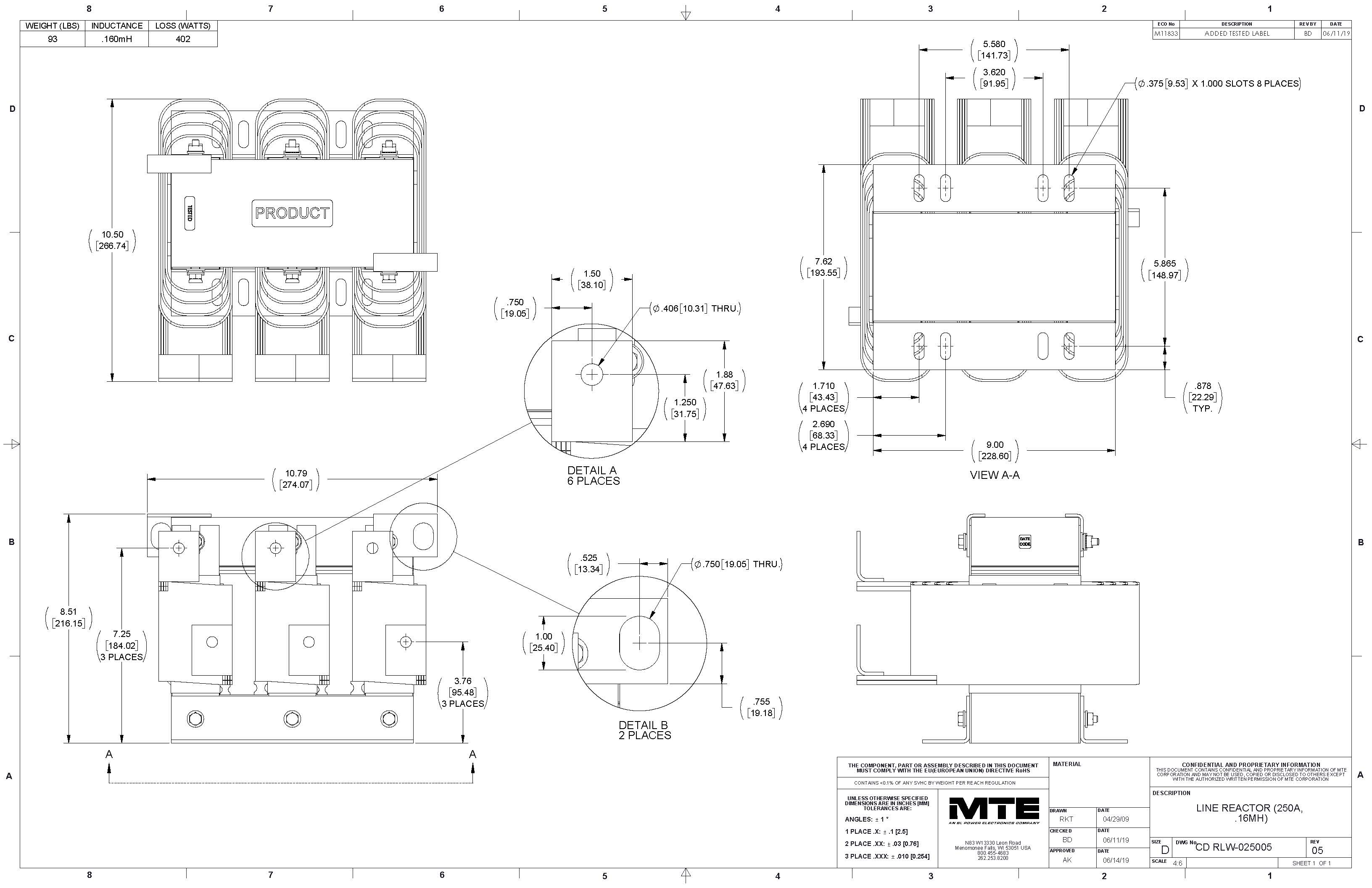Image of an MTE Reactor RLW-025005